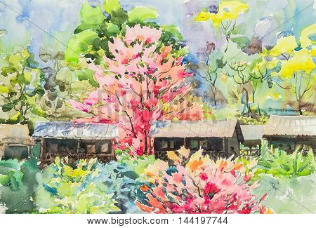 watercolor original landscape painting yellow green and purple pink color of sakura flowers in blue background