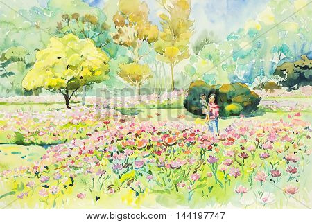 watercolor original landscape painting yellow orange red and pink color of flowers garden in green and blue background