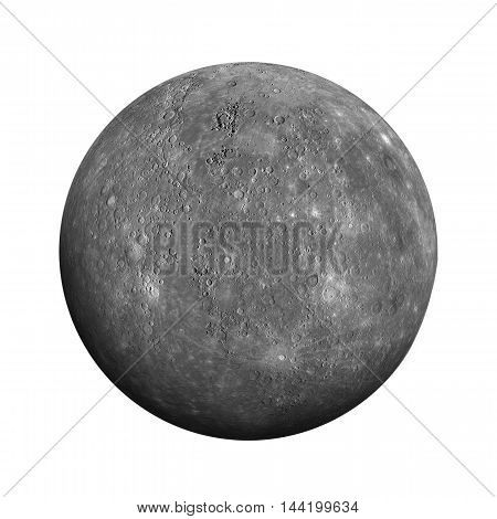 Solar System - Mercury. Isolated Planet On White Background.