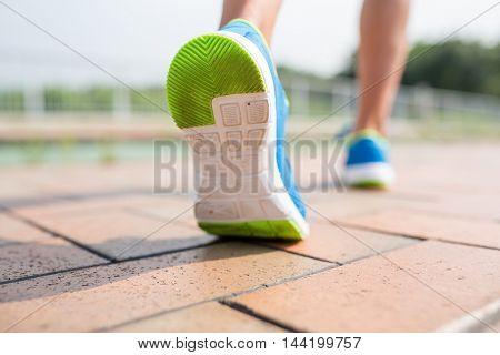 Runner training at outdoor