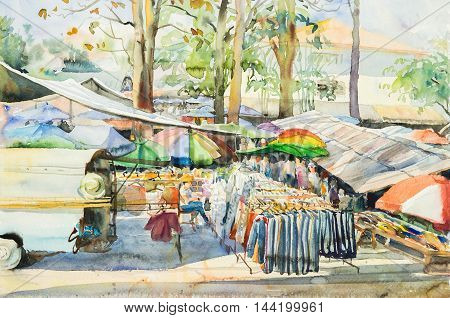 watercolor original landscape painting of locals market in rural scene and cloud background