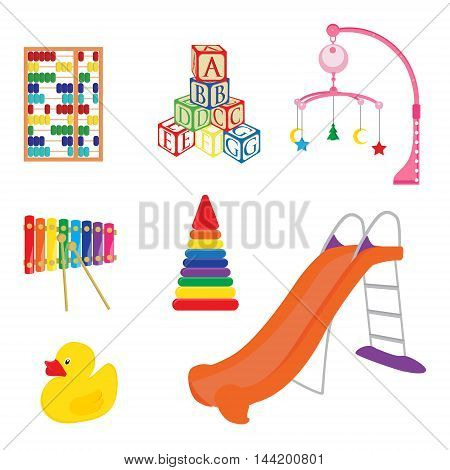 Baby toys xylophone yellow rubber duck alphabet building blocks pyramid and abacus icon vector set. Playground kids slide. Pram rattle
