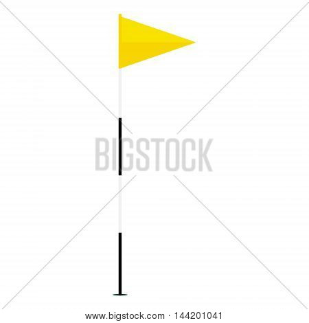 Vector illustration yellow golf flag isolated on white background. Game golf equipment. Golf flag icon flat design