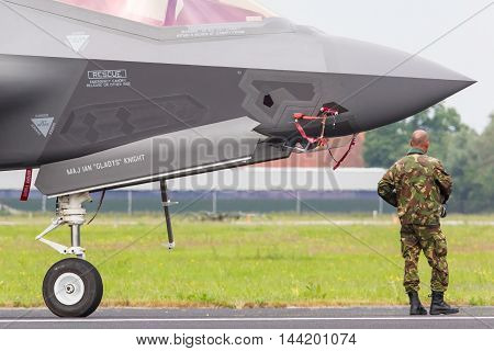 Leeuwarden, Netherlands - June 11, 2016: Close-up Of The New F-35 At Air Show In Leeuwarden. It Will