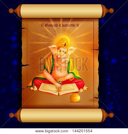 easy to edit vector illustration of Lord Ganpati writing book of account on Ganesh Chaturthi background