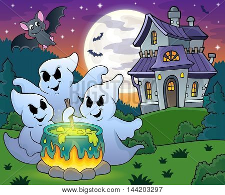 Ghosts stirring potion theme image 4 - eps10 vector illustration.