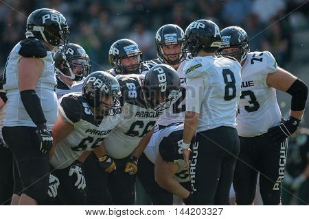 VIENNA, AUSTRIA - MAY 16, 2015: The team of the Prague Panthers during a game of the Austrian Football League.