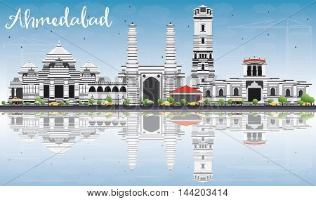Ahmedabad Skyline with Gray Buildings, Blue Sky and Reflections. Business Travel and Tourism Concept with Historic Buildings. Image for Presentation Banner Placard and Web Site.