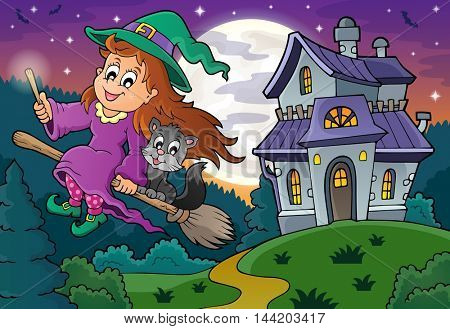 Cute witch on broom near haunted house - eps10 vector illustration.