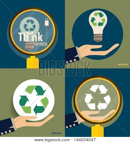 Hand holding Recycle symbol. Vector symbol on the packaging, vector Illustration