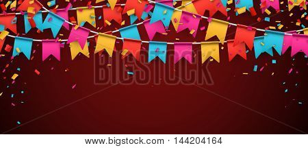 Red banner with garland of colour flags and confetti. Vector illustration.