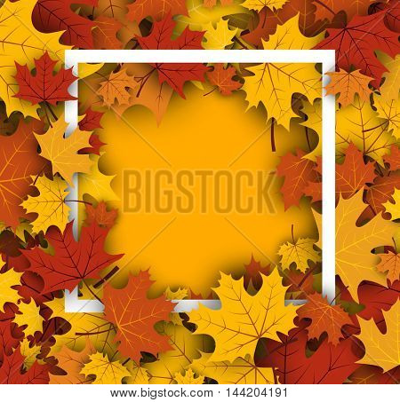 Autumn yellow background with golden maple leaves. Vector paper illustration.