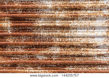 Close up of a rusty corrugated iron. Rusty corrugated iron background.