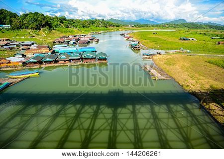 Rural view of shadow of Mon Bridge in Sangkhlaburi Kanchanaburi Thailand