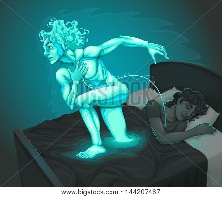 Boy dreaming in bedroom with his astral body. Vector illustration