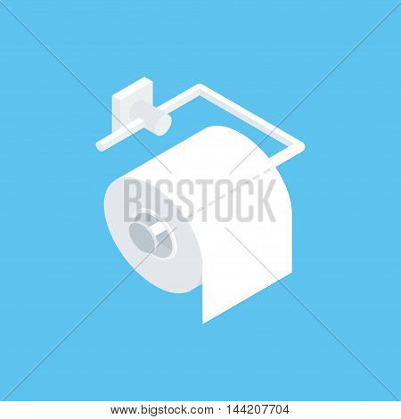 Fixing toilet paper holder. Vector illustration of isometric isolated icon for restroom. Clean flat style.
