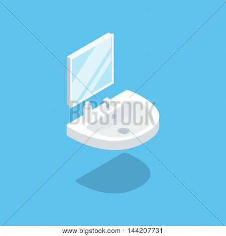 Sink with a mirror hanging on the wall. Vector illustration of isometric isolated icon. Clean flat style. Sanitary engineering.