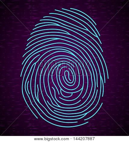 Illustration of   blue fingerprint on abstract background