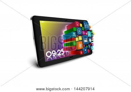 Tablet PC with colorful application icons isolated on white background