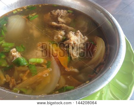Meat soup with vegetables Muslim style, Thai Muslim food