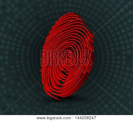 Illustration of  Red fingerprint scanner. 3D illustration