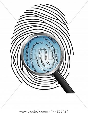 Illustration of  Magnifying glass over a finger print revealing binary code