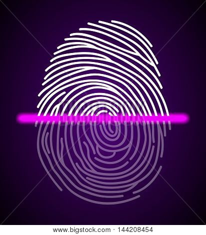 Illustration of pink  Fingerprint scanner illustration on abstract background