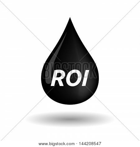 Isolated Oil Drop Icon With    The Return Of Investment Acronym Roi