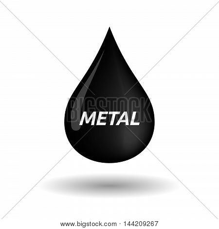 Isolated Oil Drop Icon With       The Text Metal
