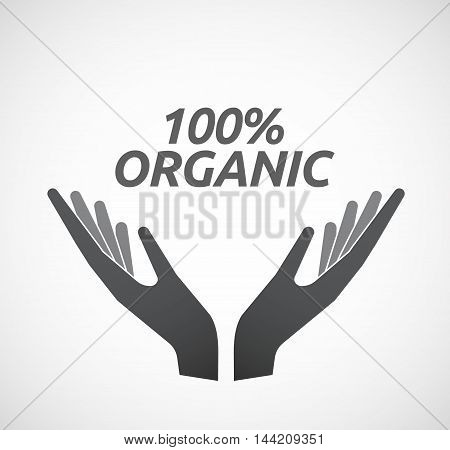 Isolated Hands Offering Icon With    The Text 100% Organic