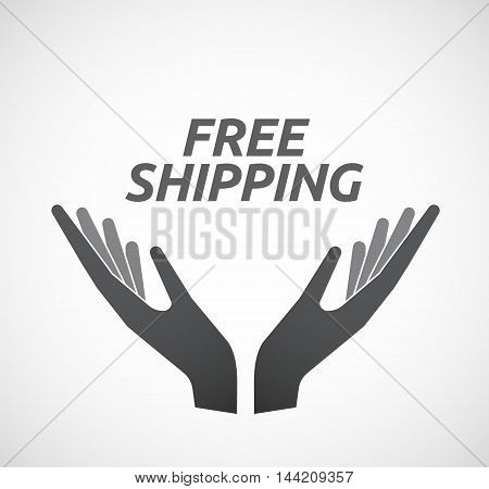 Isolated Hands Offering Icon With    The Text Free Shipping