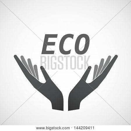 Isolated Hands Offering Icon With    The Text Eco