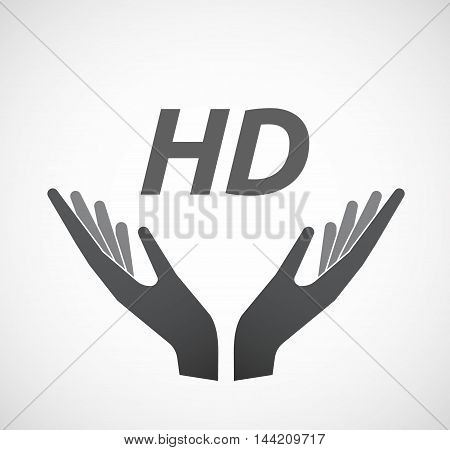 Isolated Hands Offering Icon With    The Text Hd