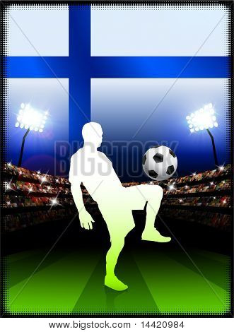 Finland Flag with Soccer Player on Stadium Background Original Illustration