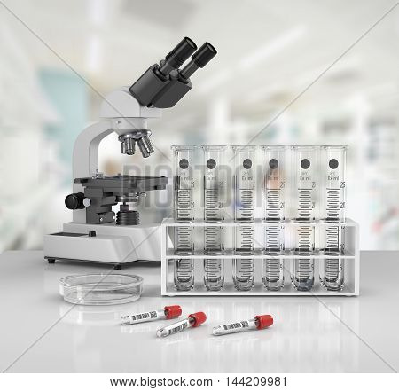 3D render illustration. Laboratory glassware with laboratory microscopetest tubes on blured background