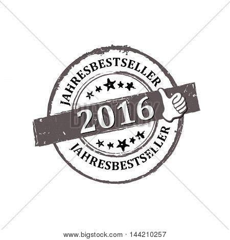 Best seller of the Year 2016 (German language: Jahresbestseller) stamp / label / sticker, also for print.