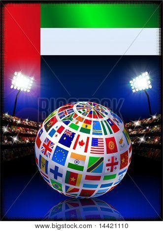 United Arab Emirates Flag with Globe on Stadium Background Original Illustration