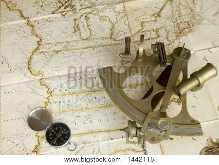 Map, Sextant And Compass poster