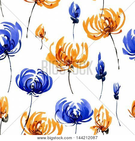 Watercolor and ink illustration of orange and blue chrisanthemiumflowers. Oriental traditional painting in style sumi-e gohua. Decorative seamless patterns.