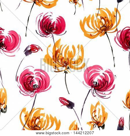 Watercolor and ink illustration of red and orange chrisanthemiumflowers. Oriental traditional painting in style sumi-e gohua. Decorative seamless patterns.