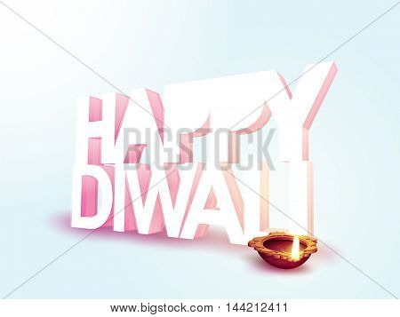 Creative 3D Text Happy Diwali with illuminated Oil Lamp (Diya), Elegant glossy background, Can be used as Greeting Card, Invitation, Poster, Banner or Flyer, Indian Festival of Lights celebration.