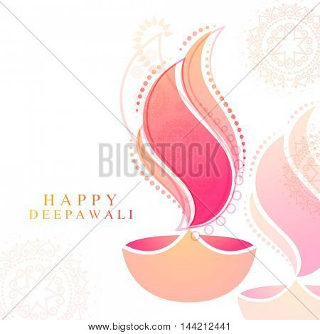 Elegant Greeting Card design with creative floral Oil Lamp (Diya) for Indian Festival of Lights, Happy Deepawali celebration.