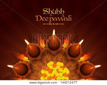 Elegant beautiful Rangoli with flowers and Illuminated Oil Earthen Lamps, Vector illustration for Indian Festival of Lights, Shubh Deepawali Celebration.