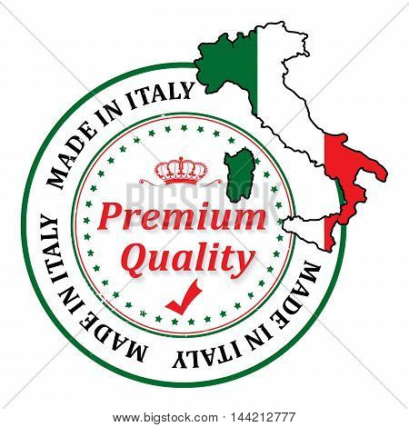 Made in Italy, Premium Quality  grunge stamp with the map and the national flag colors. Print colors (CMYK) used.