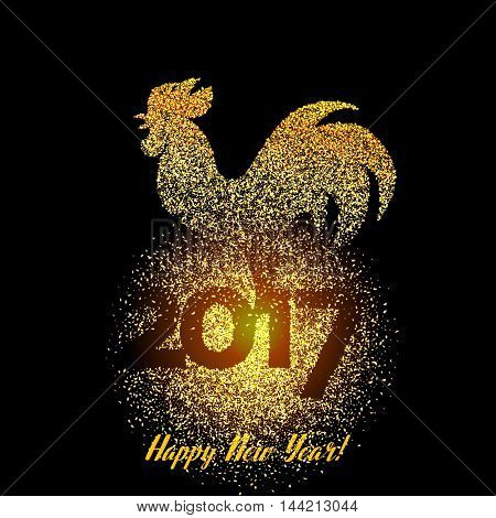 Happy New Year 2017 background with gold shiny rooster silhouette. New Year's greetings card. Vector illustration.
