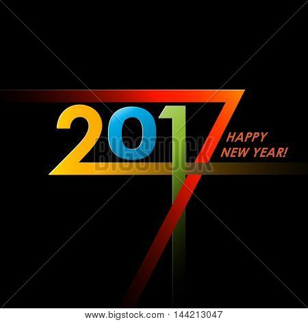 Creative text 2017 with different color strips on black background. New year graphic design creative card. Vector illustration