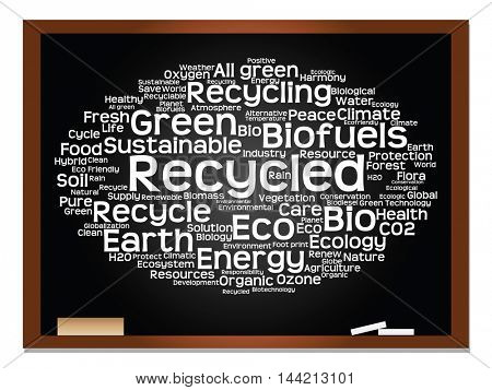 Concept or conceptual abstract green ecology and conservation word cloud text on blackboard with chalk background