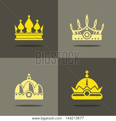 Yellow crown icons with shadow. Royal crown for prince, vector illustration