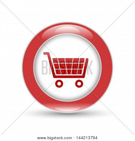 shiny shopping basket icon with shadow on white