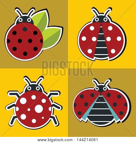 Ladybug icons with black shadow in flat style on yellow background. Vector illustration